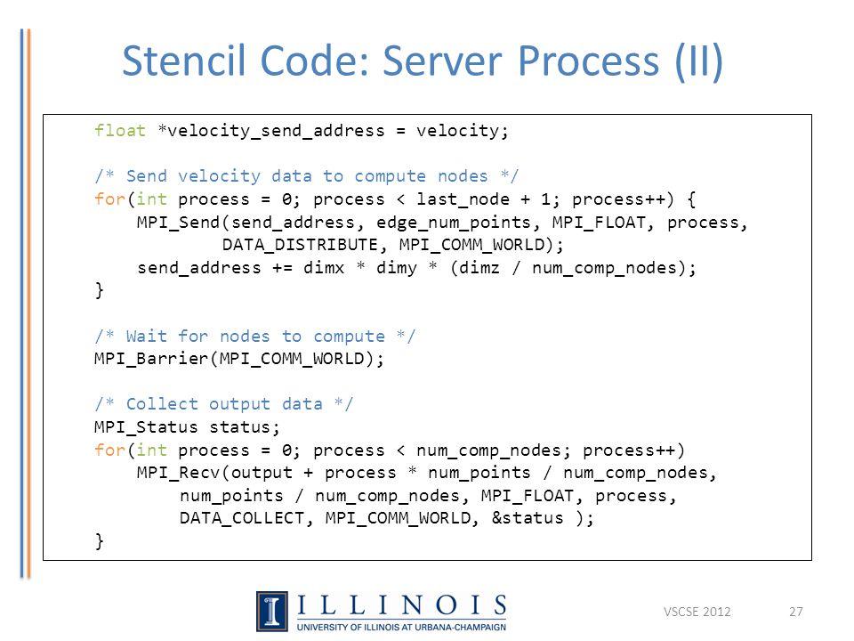 Stencil Code: Server Process (II) 27 float *velocity_send_address = velocity; /* Send velocity data to compute nodes */ for(int process = 0; process < last_node + 1; process++) { MPI_Send(send_address, edge_num_points, MPI_FLOAT, process, DATA_DISTRIBUTE, MPI_COMM_WORLD); send_address += dimx * dimy * (dimz / num_comp_nodes); } /* Wait for nodes to compute */ MPI_Barrier(MPI_COMM_WORLD); /* Collect output data */ MPI_Status status; for(int process = 0; process < num_comp_nodes; process++) MPI_Recv(output + process * num_points / num_comp_nodes, num_points / num_comp_nodes, MPI_FLOAT, process, DATA_COLLECT, MPI_COMM_WORLD, &status ); } VSCSE 2012