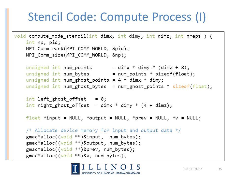 Stencil Code: Compute Process (I) 35 void compute_node_stencil(int dimx, int dimy, int dimz, int nreps ) { int np, pid; MPI_Comm_rank(MPI_COMM_WORLD,