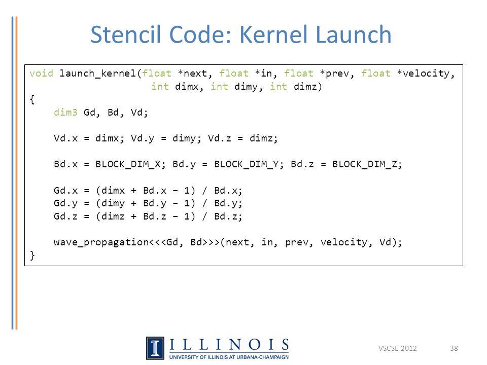 Stencil Code: Kernel Launch 38 void launch_kernel(float *next, float *in, float *prev, float *velocity, int dimx, int dimy, int dimz) { dim3 Gd, Bd, V