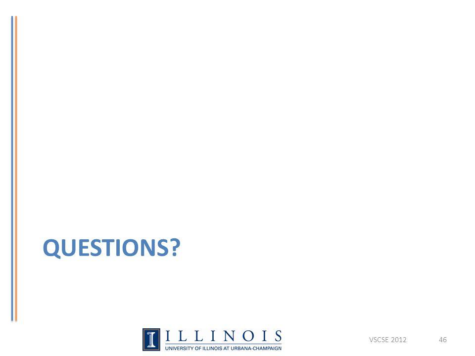 QUESTIONS? VSCSE 201246