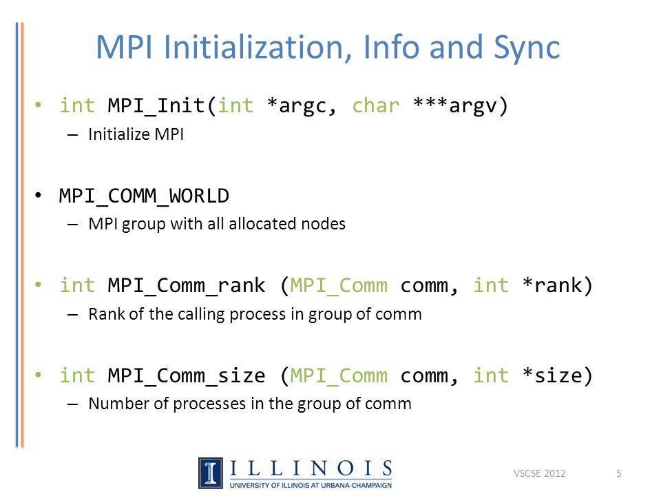 MPI Initialization, Info and Sync int MPI_Init(int *argc, char ***argv) – Initialize MPI MPI_COMM_WORLD – MPI group with all allocated nodes int MPI_C