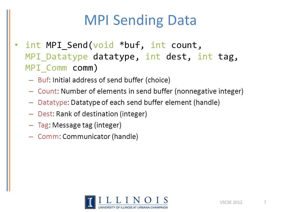 MPI Sending Data int MPI_Send(void *buf, int count, MPI_Datatype datatype, int dest, int tag, MPI_Comm comm) – Buf: Initial address of send buffer (ch