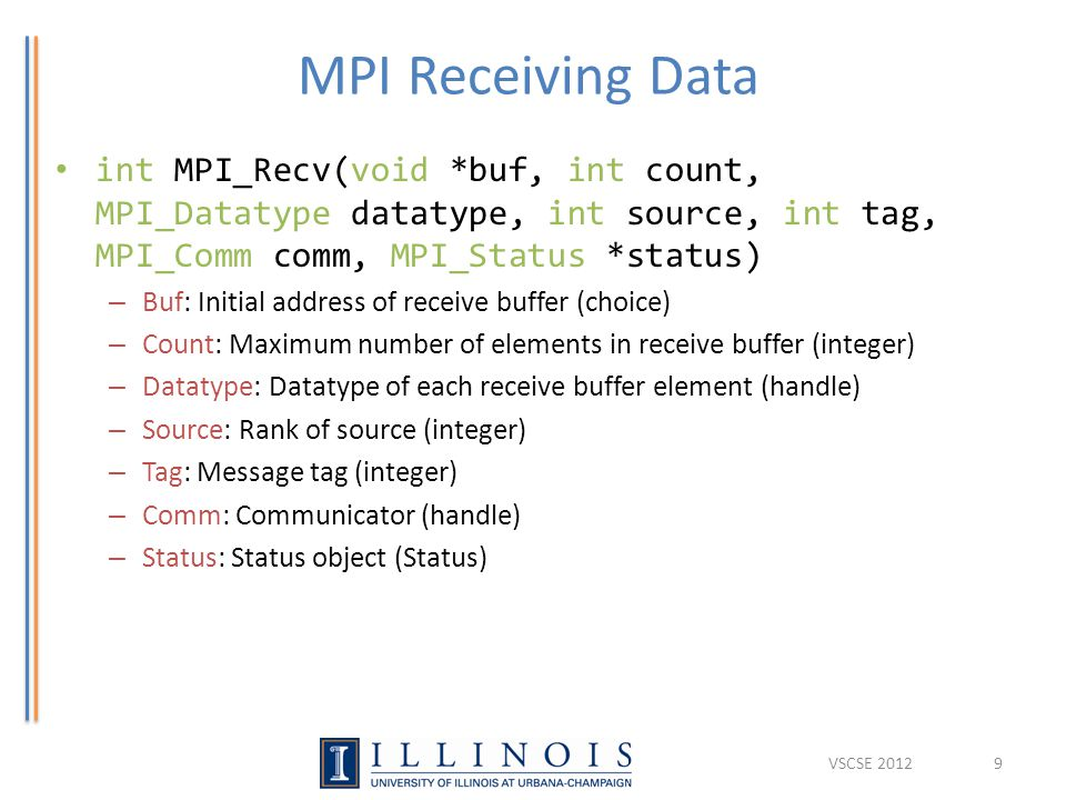 MPI Receiving Data int MPI_Recv(void *buf, int count, MPI_Datatype datatype, int source, int tag, MPI_Comm comm, MPI_Status *status) – Buf: Initial ad
