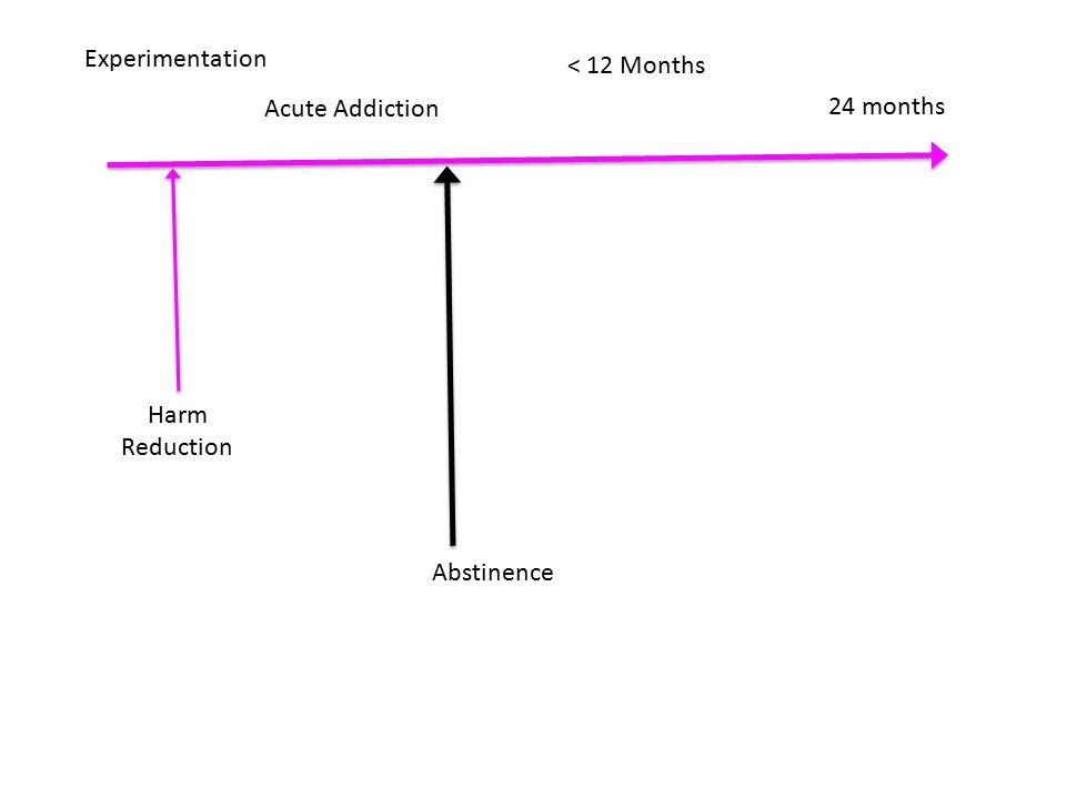 Experimentation Acute Addiction 24 months < 12 Months Abstinence Harm Reduction