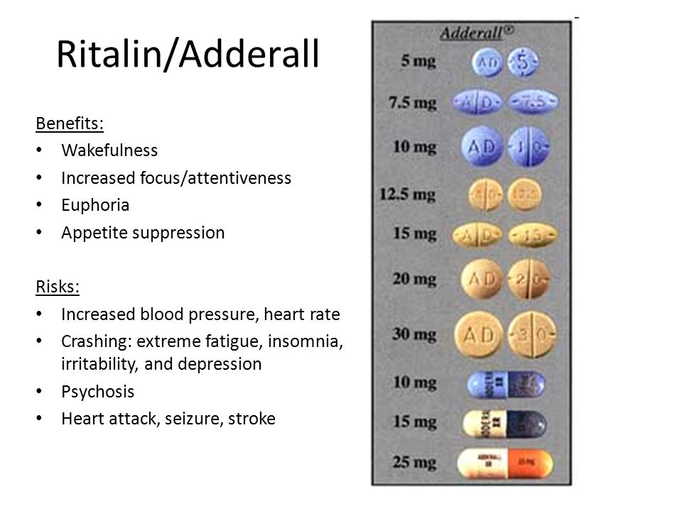 Ritalin/Adderall Benefits: Wakefulness Increased focus/attentiveness Euphoria Appetite suppression Risks: Increased blood pressure, heart rate Crashing: extreme fatigue, insomnia, irritability, and depression Psychosis Heart attack, seizure, stroke