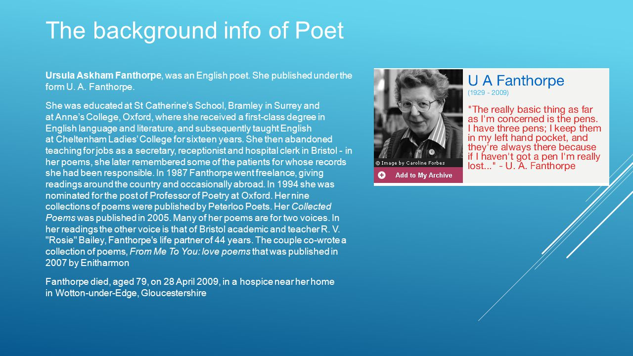 The background info of Poet Ursula Askham Fanthorpe, was an English poet.
