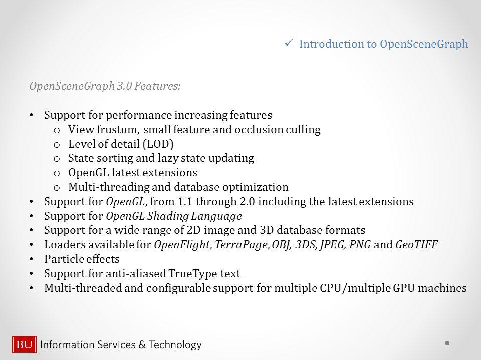 AddingTexture // Add parsing texture option from a command line // call argument parser osg::ArgumentParser arguments (&argc, argv); std::string filename; // define the argument line option arguments.read( --texture , texfilename); osg::Texture2D* texture = new osg::Texture2D; texture->setDataVariance(osg::Object::DYNAMIC); // load the texture image from the file: osg::Image* texImage = osgDB::readImageFile(texture_file); if (.