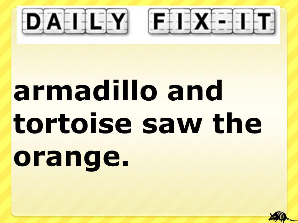 armadillo and tortoise saw the orange.