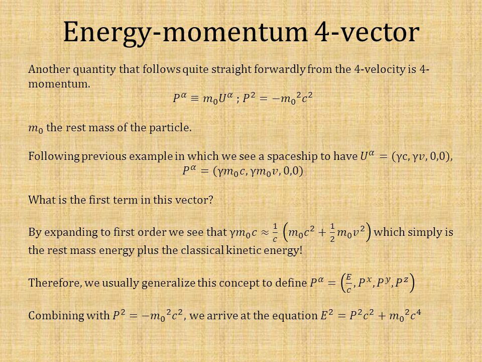 Energy-momentum 4-vector