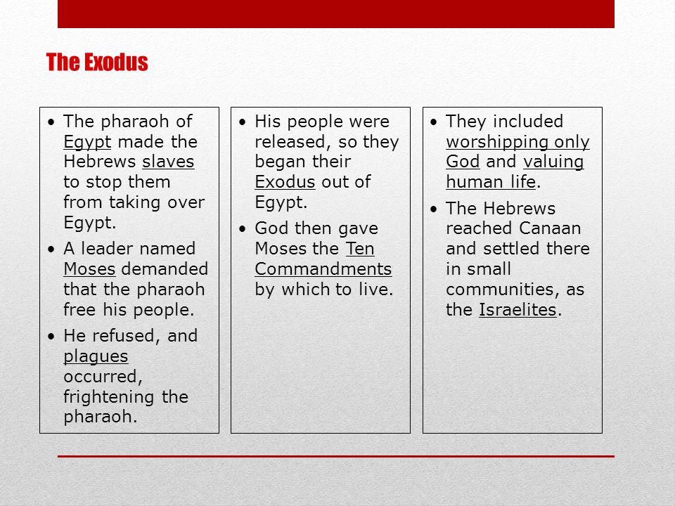 The pharaoh of Egypt made the Hebrews slaves to stop them from taking over Egypt. A leader named Moses demanded that the pharaoh free his people. He r