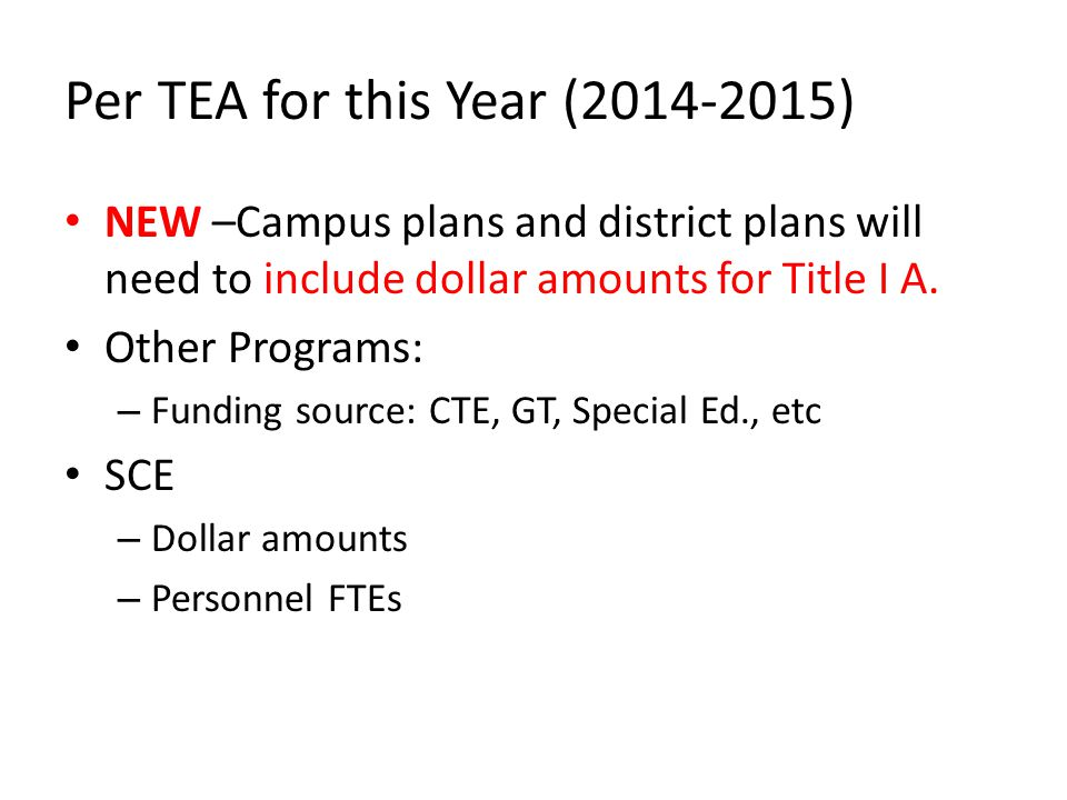 Per TEA for this Year (2014-2015) NEW –Campus plans and district plans will need to include dollar amounts for Title I A.
