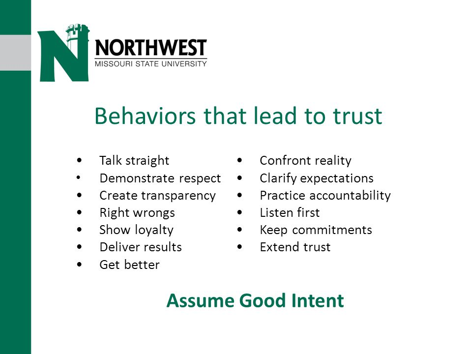 Behaviors that lead to trust Talk straight Demonstrate respect Create transparency Right wrongs Show loyalty Deliver results Get better Confront reality Clarify expectations Practice accountability Listen first Keep commitments Extend trust Assume Good Intent