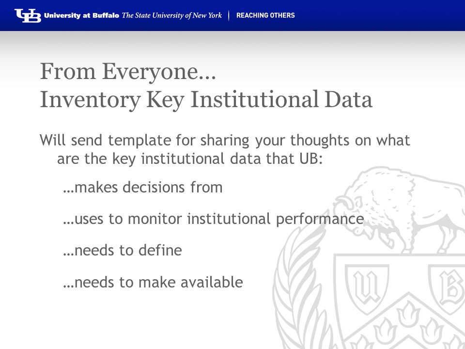 From Everyone… Inventory Key Institutional Data Will send template for sharing your thoughts on what are the key institutional data that UB: …makes decisions from …uses to monitor institutional performance …needs to define …needs to make available