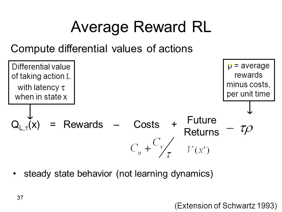 37 Compute differential values of actions Differential value of taking action L with latency  when in state x ρ = average rewards minus costs, per un