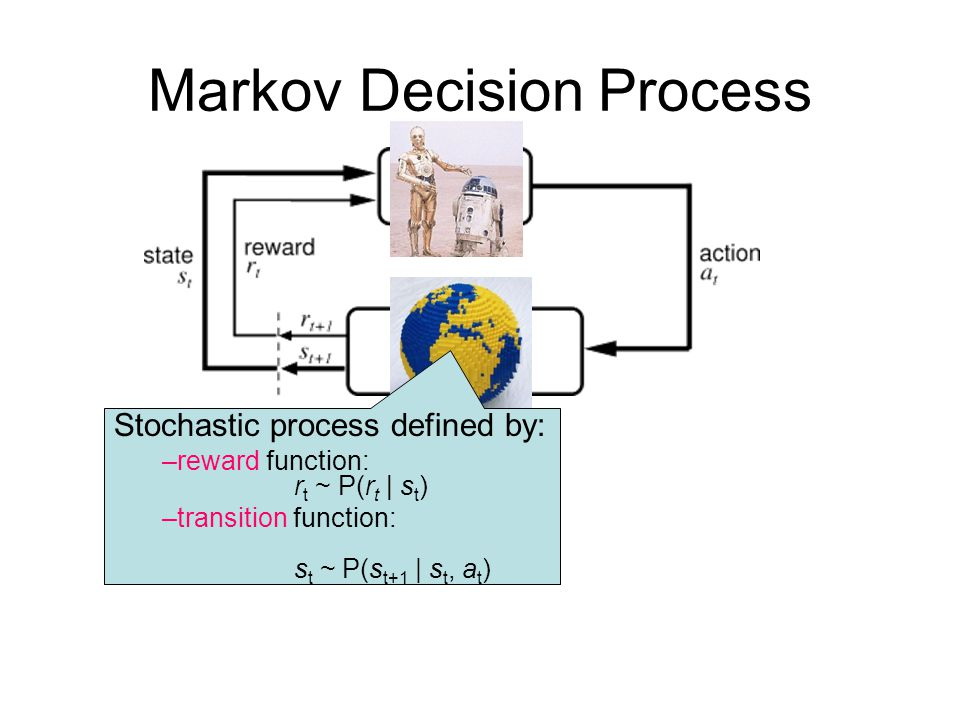 Stochastic process defined by: –reward function: r t ~ P(r t | s t ) –transition function: s t ~ P(s t+1 | s t, a t )