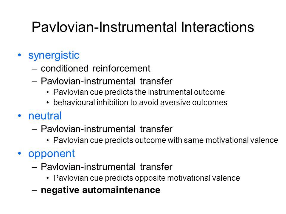 Pavlovian-Instrumental Interactions synergistic –conditioned reinforcement –Pavlovian-instrumental transfer Pavlovian cue predicts the instrumental ou