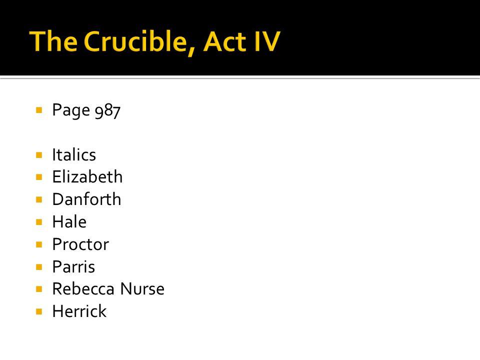  Page 987  Italics  Elizabeth  Danforth  Hale  Proctor  Parris  Rebecca Nurse  Herrick