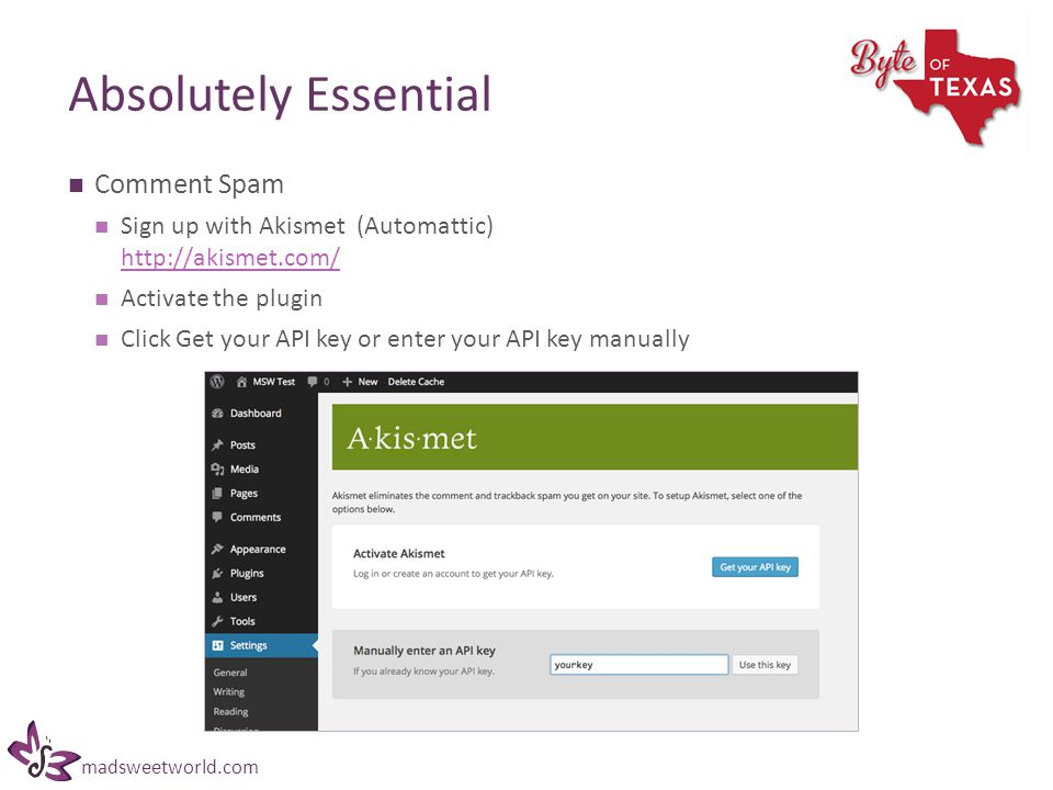 madsweetworld.com Absolutely Essential Comment Spam Sign up with Akismet (Automattic) http://akismet.com/ http://akismet.com/ Activate the plugin Click Get your API key or enter your API key manually