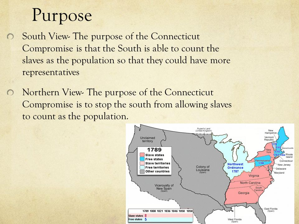 Purpose South View- The purpose of the Connecticut Compromise is that the South is able to count the slaves as the population so that they could have more representatives Northern View- The purpose of the Connecticut Compromise is to stop the south from allowing slaves to count as the population.