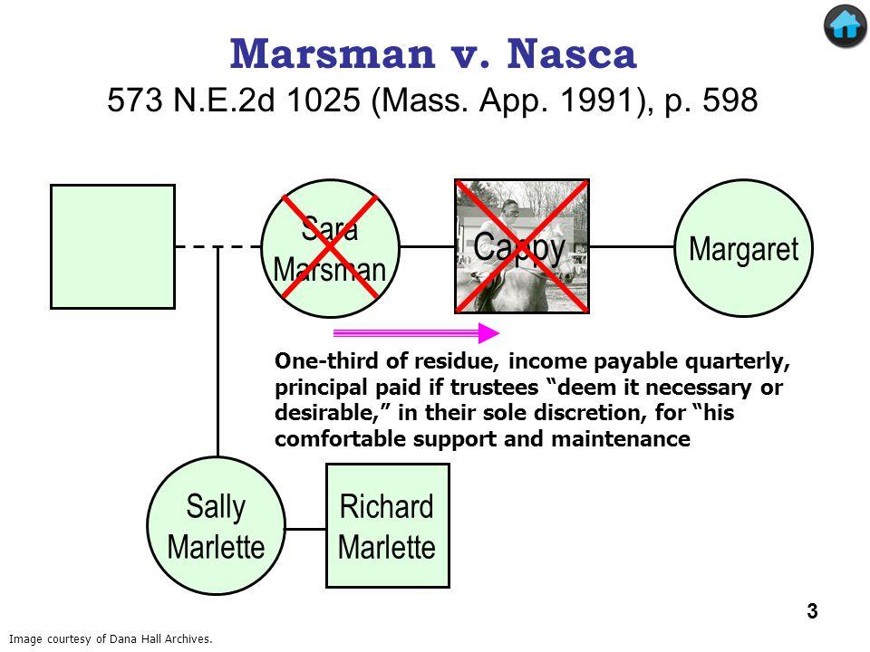 Cappy Marsman v. Nasca (1) Marsman v. Nasca 573 N.E.2d 1025 (Mass. App. 1991), p. 598 Sara Marsman Margaret Sally Marlette One-third of residue, incom