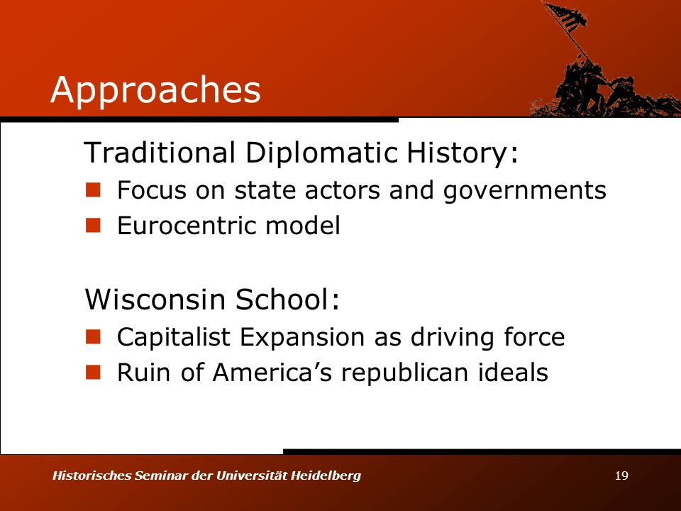 Historisches Seminar der Universität Heidelberg 19 Approaches Traditional Diplomatic History: Focus on state actors and governments Eurocentric model Wisconsin School: Capitalist Expansion as driving force Ruin of America's republican ideals