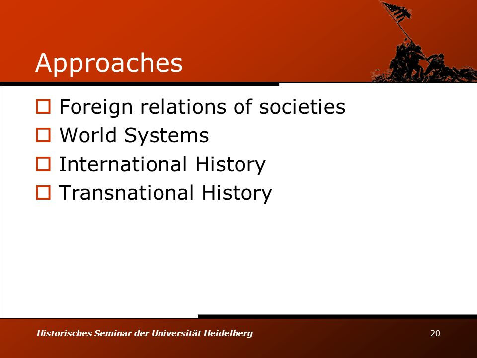 Historisches Seminar der Universität Heidelberg 20 Approaches  Foreign relations of societies  World Systems  International History  Transnational History