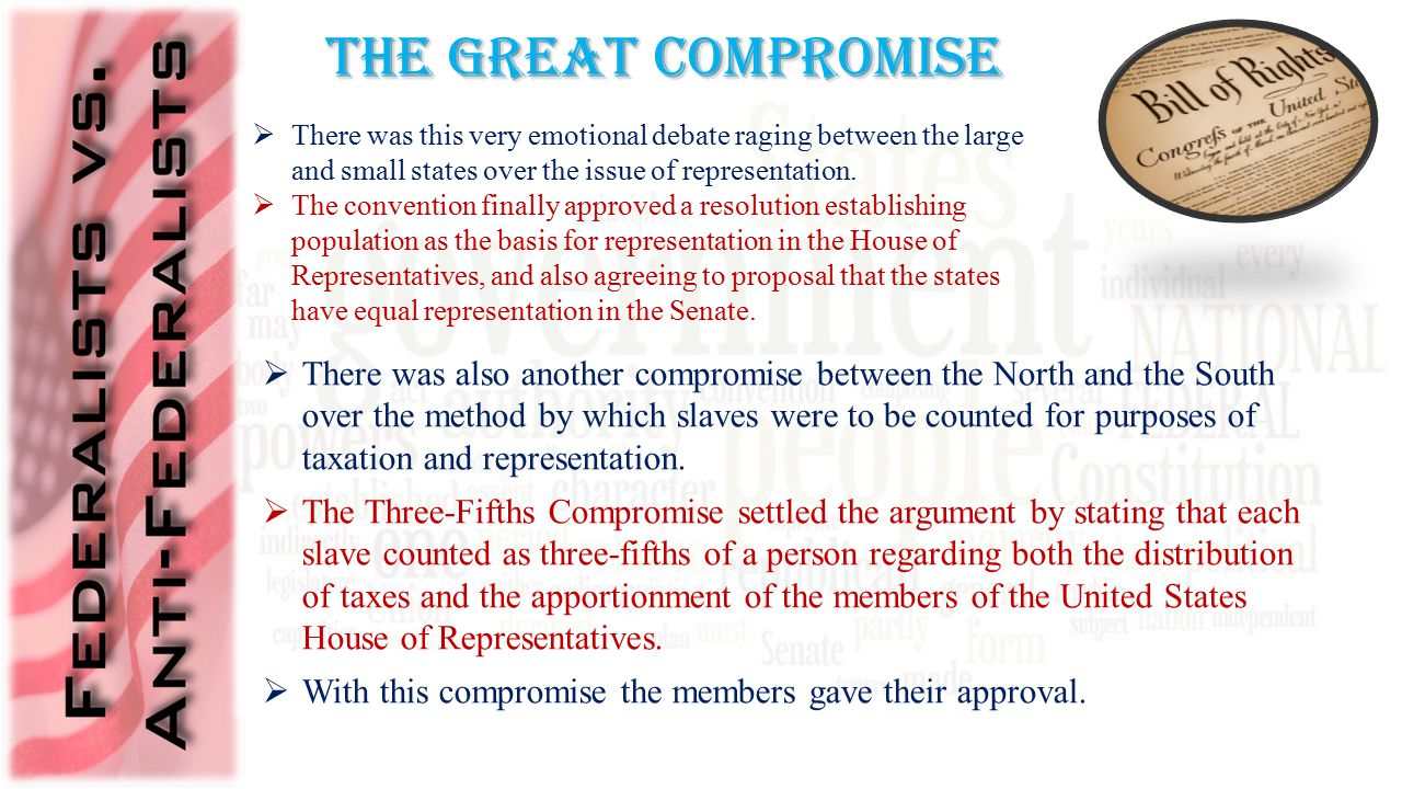The Great Compromise  There was this very emotional debate raging between the large and small states over the issue of representation.