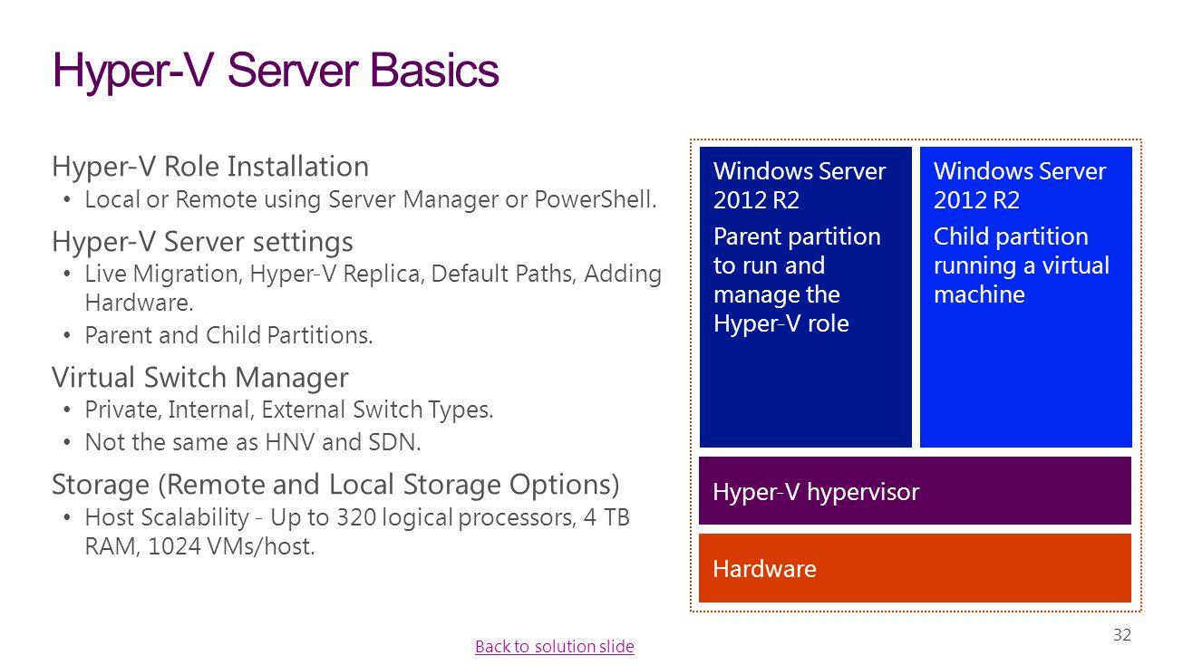 32 Hyper-V Server Basics Hyper-V Role Installation Local or Remote using Server Manager or PowerShell. Hyper-V Server settings Live Migration, Hyper-V