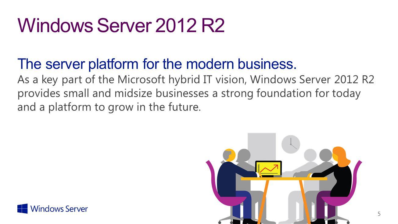 5 Windows Server 2012 R2 The server platform for the modern business. As a key part of the Microsoft hybrid IT vision, Windows Server 2012 R2 provides