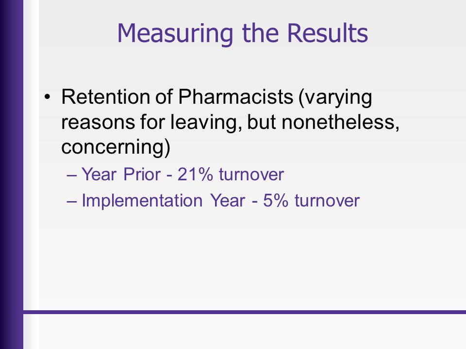 Measuring the Results Retention of Pharmacists (varying reasons for leaving, but nonetheless, concerning) –Year Prior - 21% turnover –Implementation Year - 5% turnover