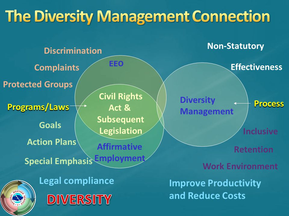 EEO Affirmative Employment Civil Rights Act & Subsequent Legislation Diversity Management Action Plans Goals Special Emphasis Discrimination Complaints Protected Groups Process Non-Statutory Effectiveness Programs/Laws Legal compliance Improve Productivity and Reduce Costs Work Environment Inclusive Retention