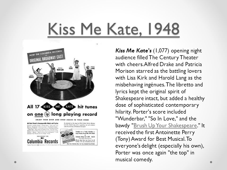 Kiss Me Kate, 1948 Kiss Me Kate, 1948 Kiss Me Kate s (1,077) opening night audience filled The Century Theater with cheers.