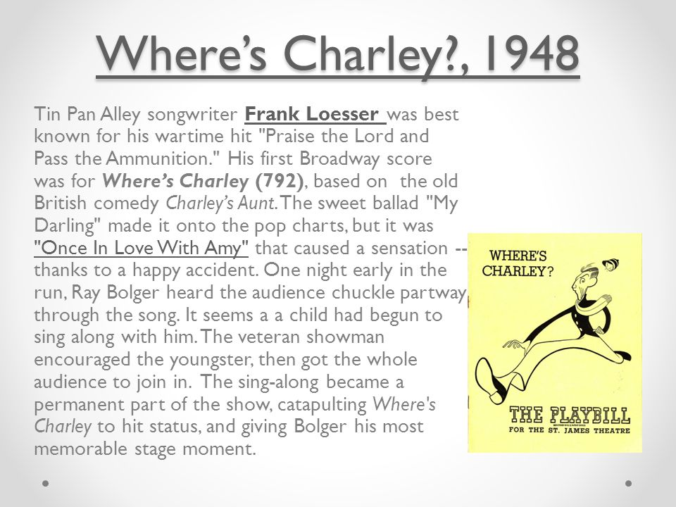 Where's Charley , 1948 Where's Charley , 1948 Tin Pan Alley songwriter Frank Loesser was best known for his wartime hit Praise the Lord and Pass the Ammunition. His first Broadway score was for Where's Charley (792), based on the old British comedy Charley's Aunt.