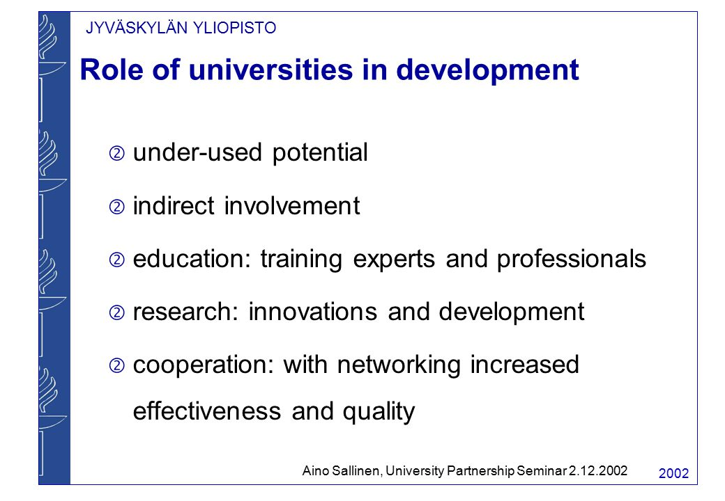 JYVÄSKYLÄN YLIOPISTO 2002 Role of universities in development  under-used potential  indirect involvement  education: training experts and professionals  research: innovations and development  cooperation: with networking increased effectiveness and quality Aino Sallinen, University Partnership Seminar 2.12.2002
