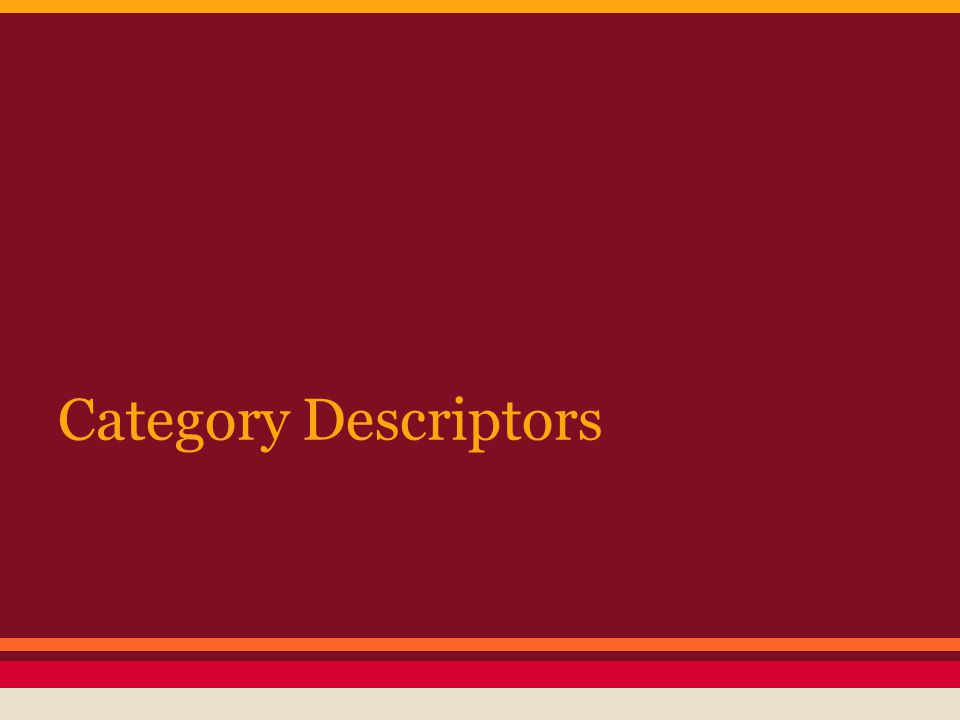 Category Descriptors