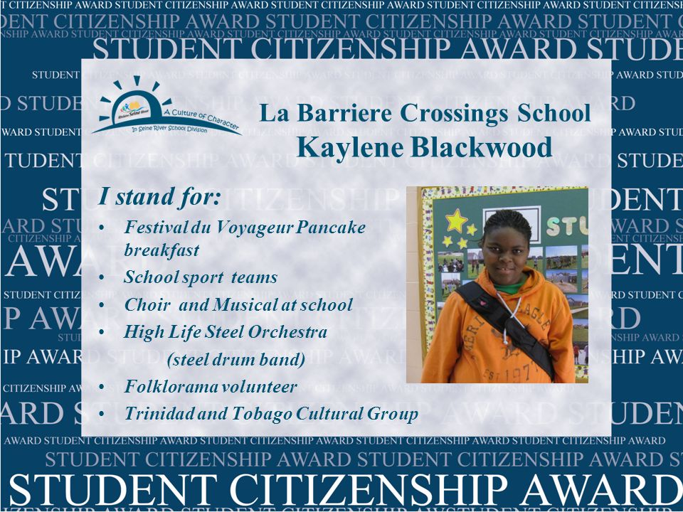 La Salle School Georgia Dalke I stand for:  Be part of my school sport teams  Helping teachers  Choir, Musical, Youth Band  Coaching and babysitting  Soar Hearthland (program for inner-city kids)  VBS (Summer Camp volunteer  Keeping La Salle beautiful (annual clean-up)