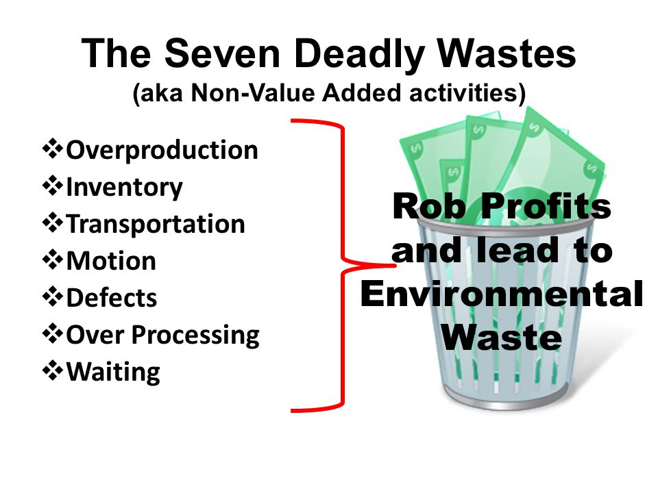 The Seven Deadly Wastes (aka Non-Value Added activities) Rob Profits and lead to Environmental Waste  Overproduction  Inventory  Transportation  Motion  Defects  Over Processing  Waiting