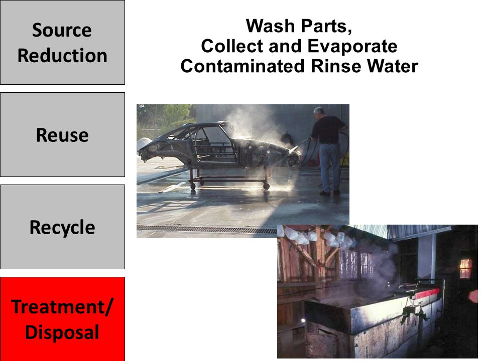 Wash Parts, Collect and Evaporate Contaminated Rinse Water Treatment/ Disposal Recycle Reuse Source Reduction Treatment/ Disposal
