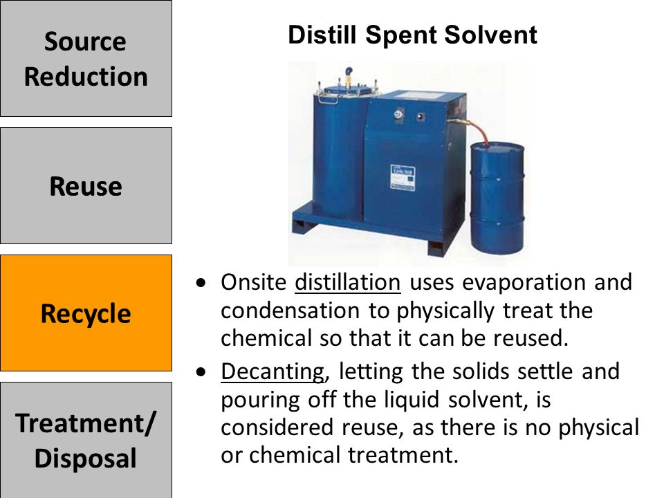  Onsite distillation uses evaporation and condensation to physically treat the chemical so that it can be reused.