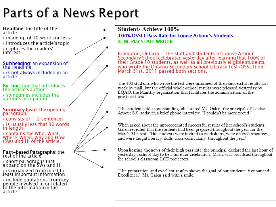 Parts of a News Report Headline: the title of the article.  made up of 10 words or less  introduces the article's topic  captures the readers' inte