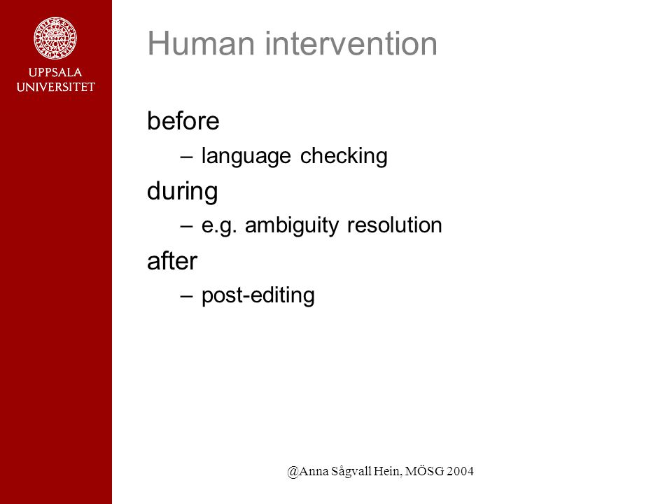 @Anna Sågvall Hein, MÖSG 2004 Human intervention before –language checking during –e.g.