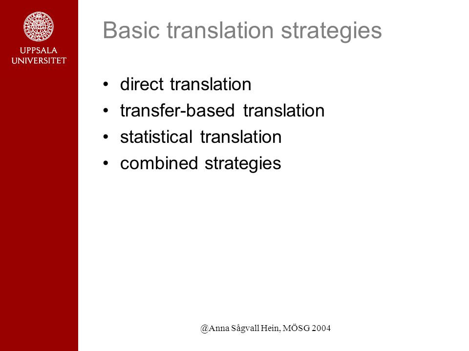 @Anna Sågvall Hein, MÖSG 2004 Basic translation strategies direct translation transfer-based translation statistical translation combined strategies