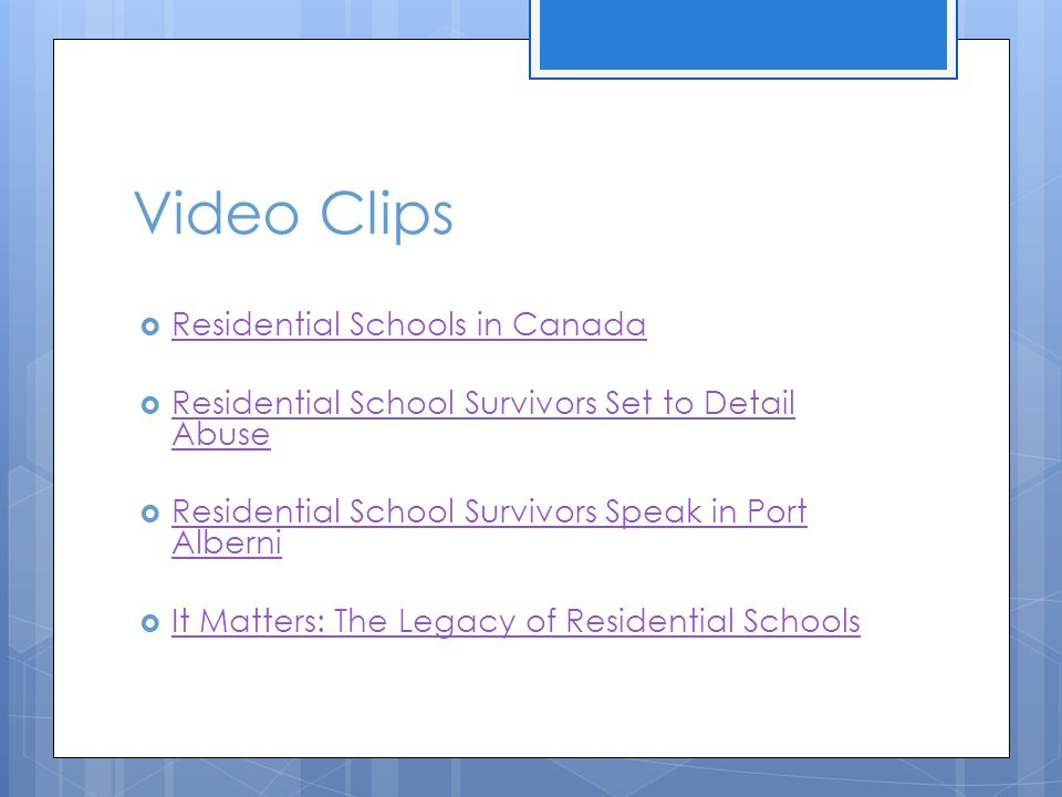 Video Clips  Residential Schools in Canada Residential Schools in Canada  Residential School Survivors Set to Detail Abuse Residential School Surviv