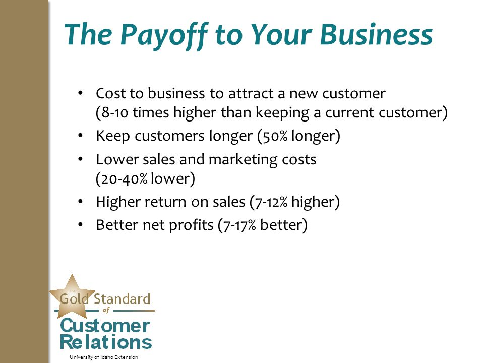 University of Idaho Extension The Payoff to Your Business Cost to business to attract a new customer (8-10 times higher than keeping a current customer) Keep customers longer (50% longer) Lower sales and marketing costs (20-40% lower) Higher return on sales (7-12% higher) Better net profits (7-17% better)