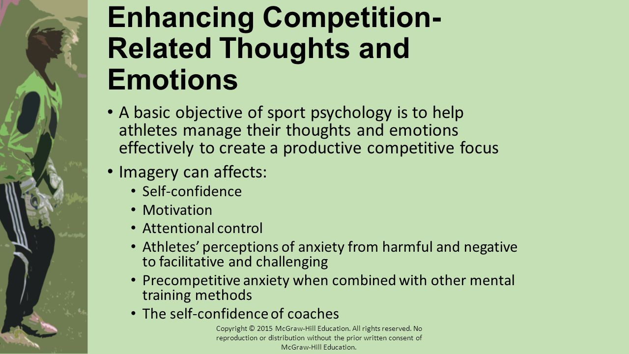 Enhancing Competition- Related Thoughts and Emotions A basic objective of sport psychology is to help athletes manage their thoughts and emotions effe