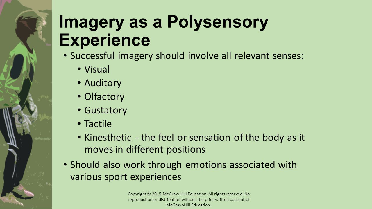 Imagery as a Polysensory Experience Successful imagery should involve all relevant senses: Visual Auditory Olfactory Gustatory Tactile Kinesthetic - t