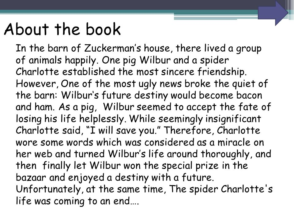 About the book In the barn of Zuckerman's house, there lived a group of animals happily. One pig Wilbur and a spider Charlotte established the most si