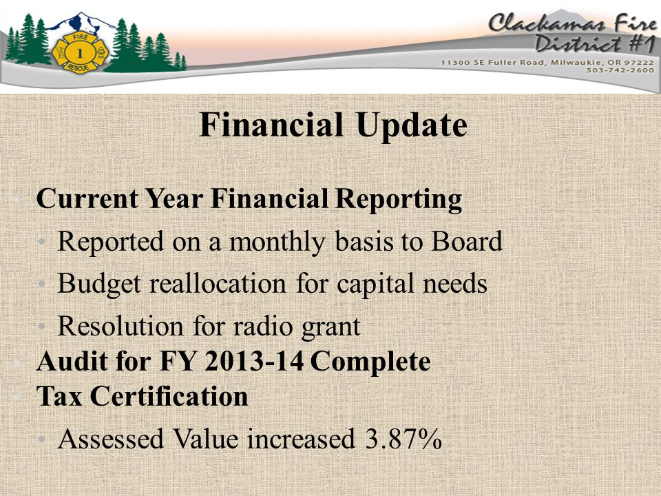 Financial Update Current Concerns PERS liability Budget for Fiscal Year 2015-16 Budget Committee Meeting: April 28, 2015 Contract fee increase 3.87% Contract amount for FY 15-16 = $4,107,105 Auditor selection for FY 14-15