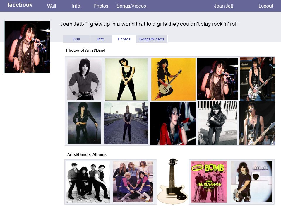 Wall InfoPhotosSongs/Videos Joan Jett- I grew up in a world that told girls they couldn t play rock n roll facebook WallInfoPhotosSongs/VideosJoan JettLogout Photos of Artist/Band Artist/Band's Albums Photo Here
