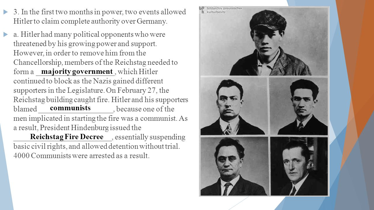  3. In the first two months in power, two events allowed Hitler to claim complete authority over Germany.  a. Hitler had many political opponents wh